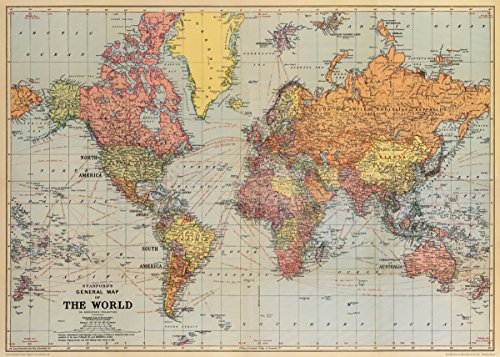 "Cavallini Co. World Map 1 Decorative Paper Sheet 20"" x 28"""
