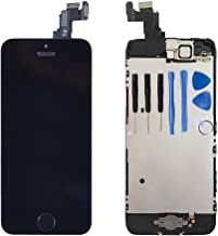 for iPhone 5c Digitizer Screen Replacement Black - Ayake 4'' Full LCD Display Assembly with Home Button, Front Facing Camera, Earpiece Speaker Pre Assembled and Repair Tool Kits