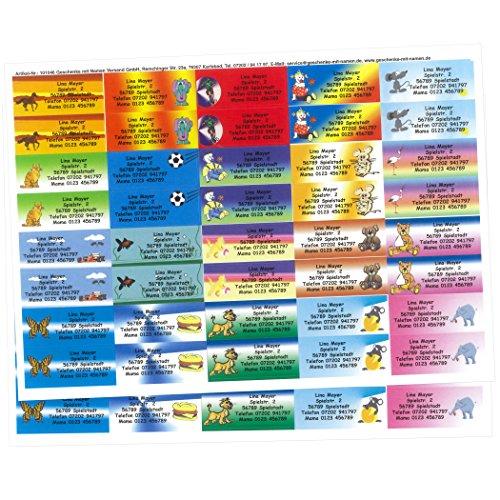 Kinder-Etiketten mit Ihrem WUNSCHTEXT, 80 Stück, ca. 56 x 23 mm, für bis zu 5 Zeilen Text, 2 A4-Bögen bunt-gemischt mit 20 schönen KINDERMOTIVEN -MADE in GERMANY-