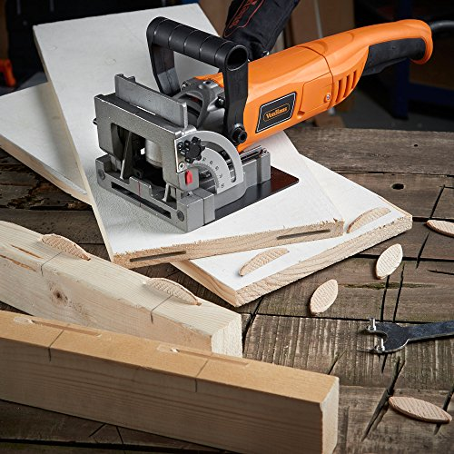 """VonHaus 8.5 Amp Wood Biscuit Plate Joiner with 4"""" Tungsten Carbide Tipped Blade, Adjustable Angle and Dust Bag - Suitable For All Wood Types"""