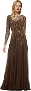 Women's Starlit Beaded Long Sleeve Mother of The Bride Evening Gown