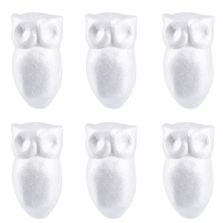 Craft Foam - 6-Pack Owl Shaped Foam for DIY Crafts Project, Kids Art Class, White Polystyrene Foam, 2.25 x 4.25 x 1.875 Inches