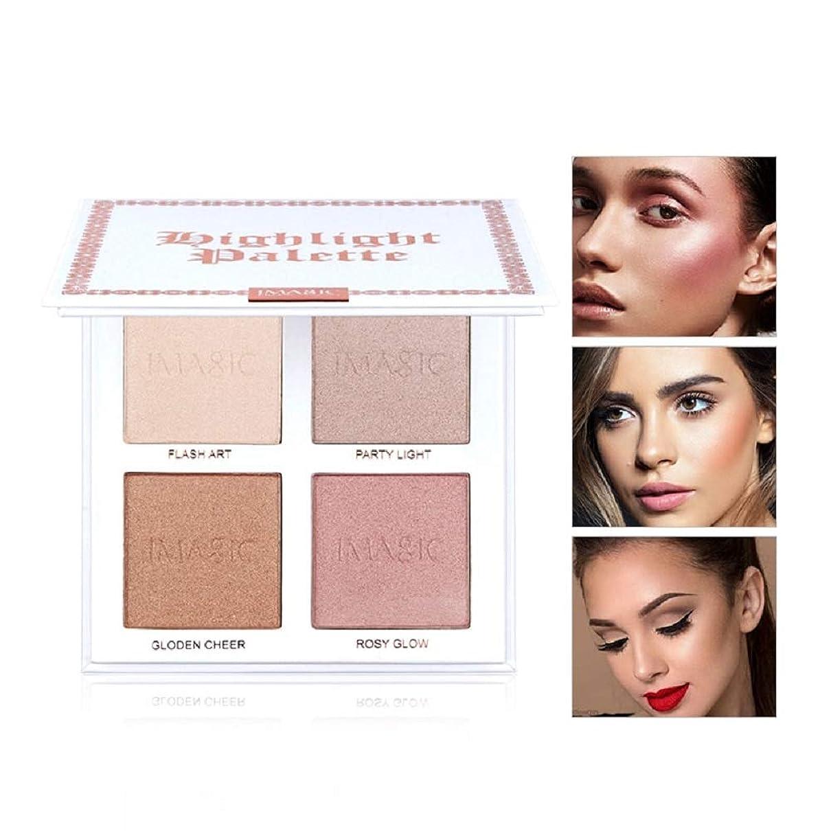 個人的な中級火星Makeup Glitter Highlighter Palette 4 Color Shimmer Brilliant Pink Nude Highlighter Powder Face Illuminator Glow Kit ハイライトイルミネーターフェイスメイクアップライターライターハイライターパウダーパレットブロンザーグローキット化粧