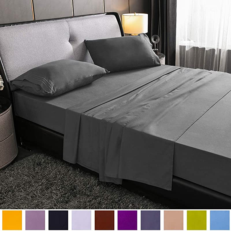 SAKIAO King Size Bed Sheets Set Brushed Microfiber 1800 Bedding 16 Deep Pocket Wrinkle Free Fade Resistant Sheet Set With 3 Line Embroidery 4 Piece Dark Grey King