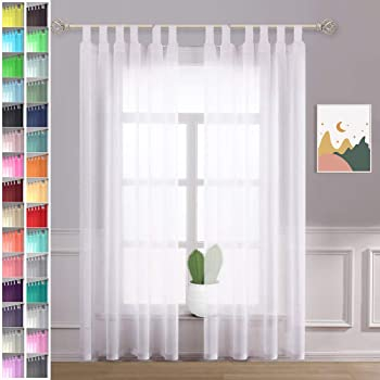 Megachest lucy Woven Voile gathering tape Curtain 2 Panels with ties 28 colors W142cmXH91.5cm angel blue 56 wideX36 drop