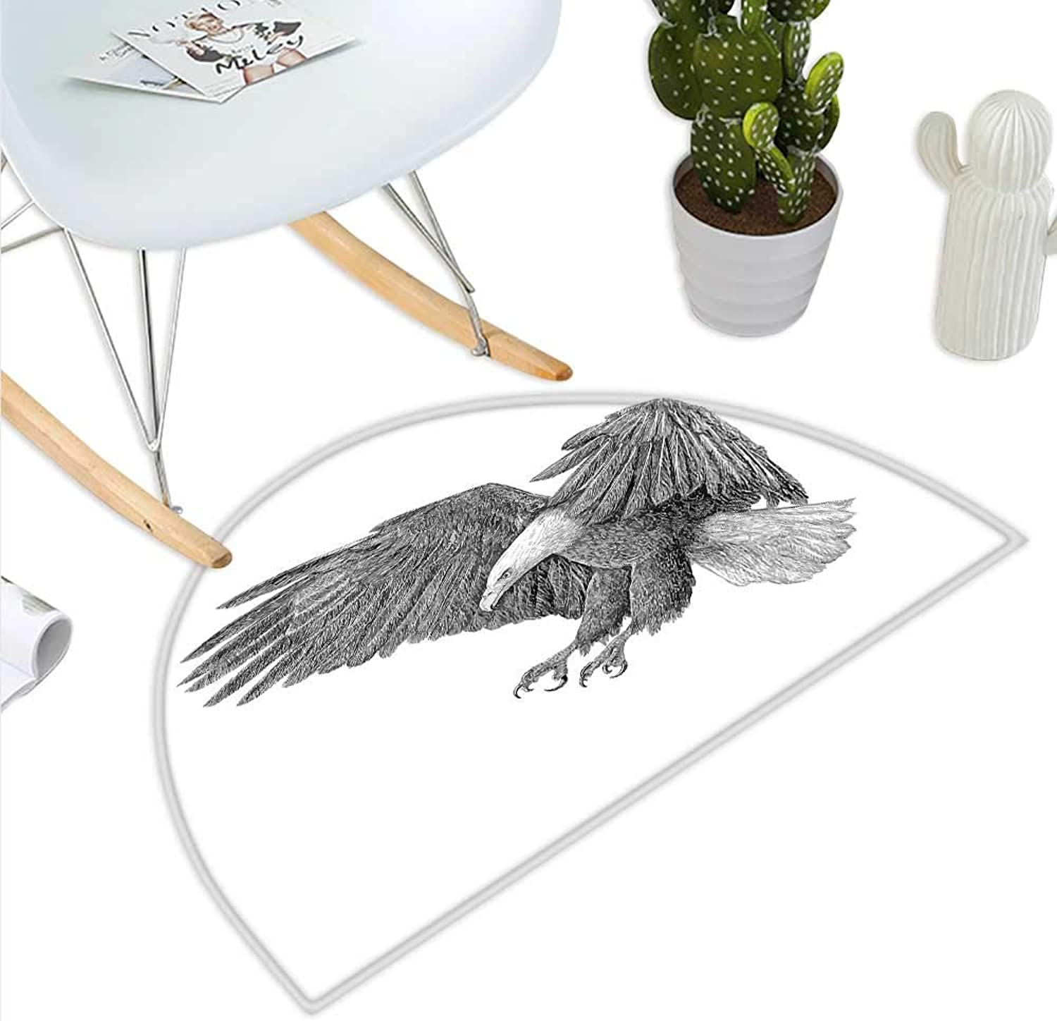 Eagle Semicircle Doormat Black and White Pencil Drawing Style Eagle with Detailed Features Wild Nature Halfmoon doormats H 35.4  xD 53.1  Black Grey White