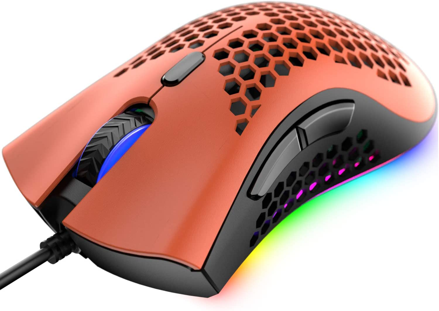 Wired Lightweight Gaming Mouse,Ultralight Honeycomb Shell Ultraweave Cable,7 Buttons Programmable Driver,Pixart 3325 12000 DPI,10 RGB Backlit Computer Mouse for PC Gamers and Xbox and PS4 Users(Red)