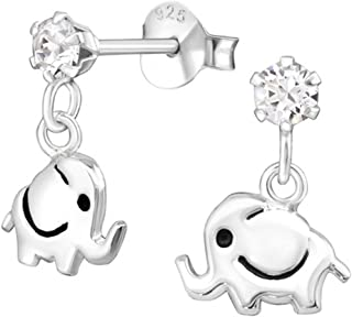 Cute Elephant Studs Earrings Made with Swarovski Crystals and Sterling Silver 925 (E32838)