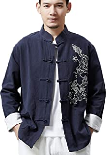 Men's Chinese Traditional Linen Cotton Kung Fu Jacket Tang Suit with Embroidered Dragon Design