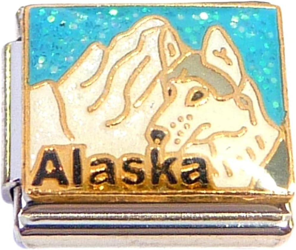 Alaska On Light Blue Italian Charm