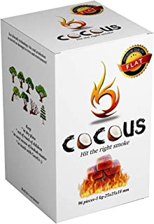 Cocous Natural Flat Coconut Charcoal Incense Hookah Shisha Narguile Coal Coconut Shell Briquette Coals 1KG - 96 Pieces 25x...