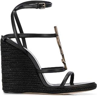 Luxury Fashion | Saint Laurent Women 5572080MUTT1000 Black Leather Wedges | Spring-summer 20
