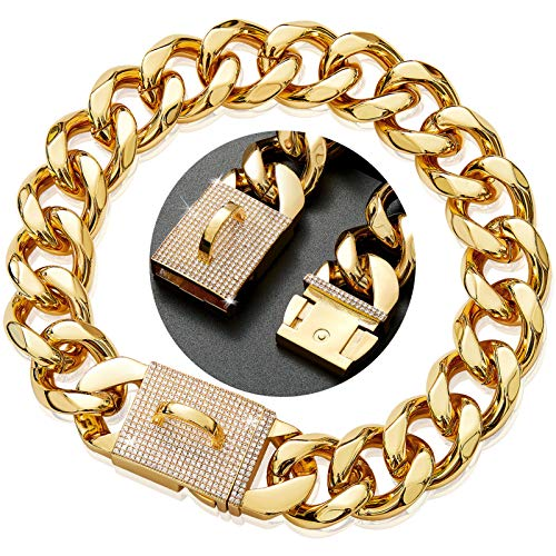 Heavy Duty Strong 23mm Wide 18K Gold Plated Dog Collar Training Choker Necklace with Diamond Buckle for Large Dogs, 304L Stainless Steel Metal Cuban Link Chain Dog Necklace