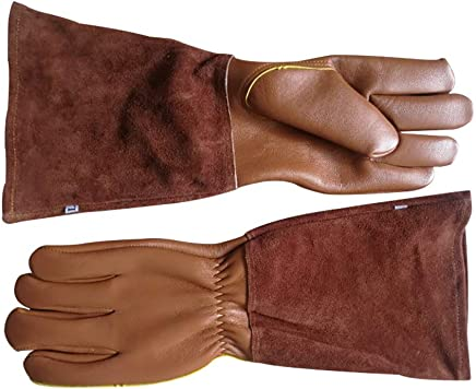 Goatskin Leather Thorn Proof Puncture Resistant Bramble Gloves, Heavy Duty Long Sleeves Arm Protectors Gardening Gauntlets Gloves For Pruning Roses Thorns Cactus Handling(HCT08-B) (Medium)