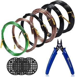 SPEEDWOX Bonsai Wire Cutter Bonsai Wire Set 6 Rolls with 3 Size 1mm 1.5mm 2mm Aluminum Wire Total 196.8 Feet Bonsai Wire C...