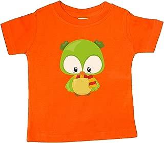 Cute Owl Wearing a Striped Scarf, Green Owl Baby T-Shirt