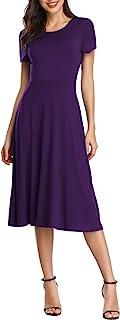Women's Short Sleeve Waisted Slim Fit Midi Dress