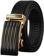 حزام بسقاطة من الجلد الطبيعي للرجال، حزام فستان بوشيهو بإبزيم أوتوماتيكي - مقاس واحد حزام قابل للتعديل