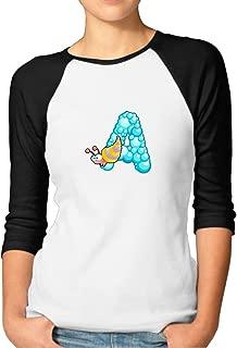 Zoena Women's Three Quarter Sleeve T Shirt - Ocean Animal Alphabet A Cartoon Black