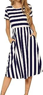 Sherostore ♡ Women's Short Sleeve Striped Dress Elastic Waist Tunic T-Shirt Dress Pocket Swing Aline Dresses
