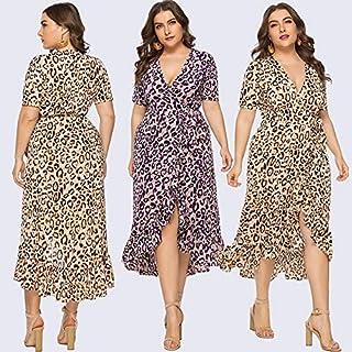 Extaum Women Plus Size Leopard Dress Ruffles Deep V Neck Short Sleeve Asymmetric Oversized Party Maxi Dress