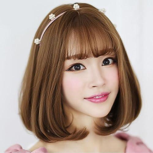 Longless Perücken kurze Haare Anh er birne Perücken Perücken kurzes Haar glattes Haar styling