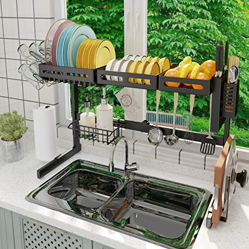 ADBIU Over The Sink (32'≤Sink Size≤39.5') Dish Drying Rack (Expandable Dimension) Snap-On Design 2 Tier Kitchen Large Dish Drainer Stainless Steel Storage Counter Organizer