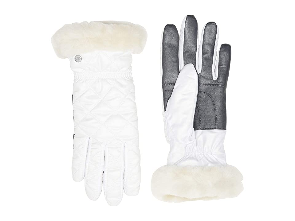 UGG Quilted All Weather Water Resistant Tech Gloves (White) Extreme Cold Weather Gloves