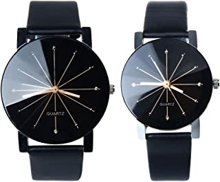 Men And Women Watch, FTXJ Luxury Quartz PU Leather Couple Wrist Watch Black