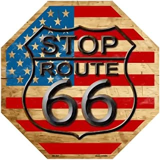 Smart Blonde Route 66 American Flag Vintage Metal Novelty Stop Sign Bs-363