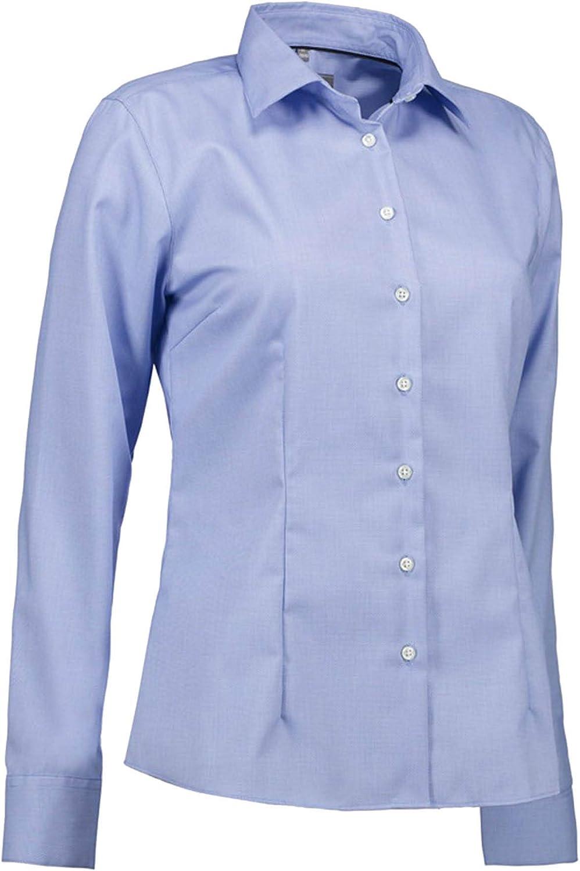 ID Womens Ladies Dobby Royal Oxford Shirt Modern Fit