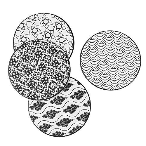 Vancasso Topfuntersetzer, Haruka Untersetzer Set aus Hochtemperatur Verstärktem Porzellan und Kork, 4 teilig Untersetzer für Töpfe, Vasen,Tellern und Flaschen (rund | 20 cm) …