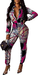 Sexy Floral Button-Down Jumpsuits for Women Long Sleevess Bodycon Leggings Pants Pink