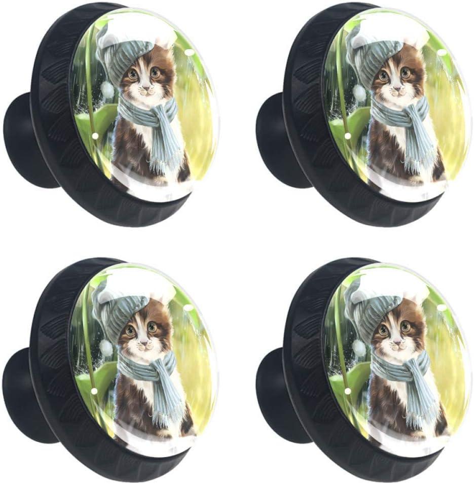Max 79% OFF Max 66% OFF TIKISMILE Warm Cat Drawer Knob Circle Pull Crystal Handle Glass