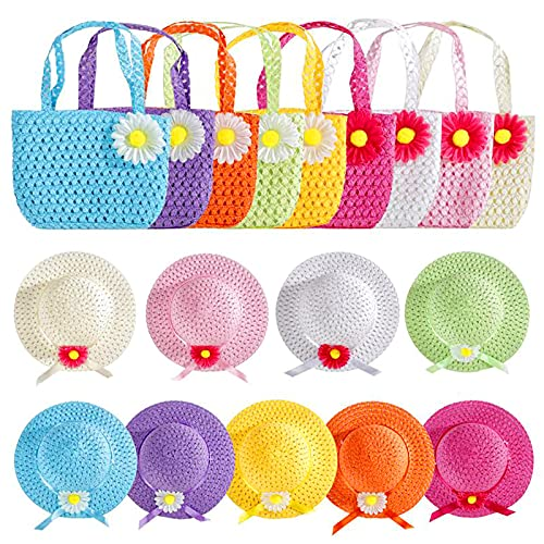 Echolife Girls Tea Party Hats Purse Sets for Princess Dress Up Colorful Costume Play Includes 9 Straw Daisy Flower Sunhats & 9 Purses (A-9 Sets)