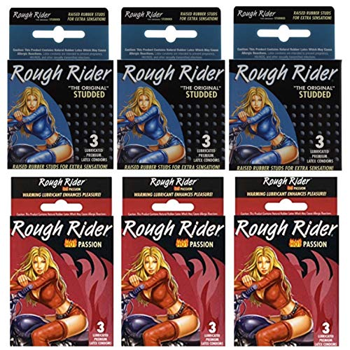 Variety Convenience Pack: Rough Rider Studded & Rough Rider Hot Passion, Contempo Mega Lubricated Premium Latex Super Protection Large Condoms - 3 PACKS OF EACH STYLE = 6 TOTAL PACKS = 18 TOTAL
