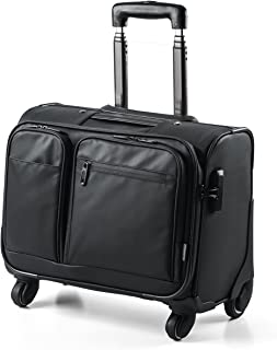 SANWA Rolling Bag with Lock, Water Resistant, Computer Briefcase on Wheels, Business & Travel Bag with Telescoping Handle, fits up to 14-inch Laptop, Compatible with MacBook Notebook, for Men/Women