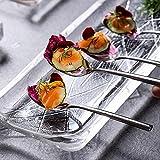 Rectangular Cristal Vidrio Tazón/Bandeja,Estilo Japonés Sushi Plato De Servicio,Realzado Plato De Cena Platos De Aperitivo Para Sushi Pescado Pastel Postre Tazón/Bandeja-Pequeño 27x10.8cm(11x4inch)