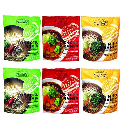 Gluten Free Meister Japanese Ramen - Tonkotsu, Shoyu, Miso Variety 6pk (Vegan/Vegetarian)