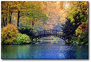 Modern Canvas Painting Wall Art The Picture for Home Decoration Old Bridge Over Blue Lake in Autumn Misty Park with Colourful Trees Landscape Forest&Lake Print On Canvas Giclee Artwork for Wall Decor