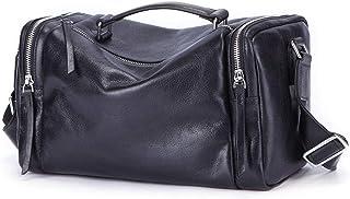 حقائب جلدية كروسبودي للرجال كبيرة ، حقائب حقائب حقائب كروسبودي للكتف ، سعة كبيرة مربعة كاجوال جلد مع حزام قابل للتعديل ، أسود