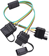 MICTUNING Universal 4 Way Flat Y-Splitter Plug and Play Adapter Extension Harness for LED Tailgate Light Bar and Trailer Lights
