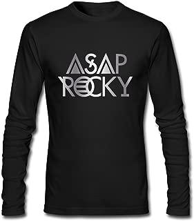 Men's Asap Rocky Logo Platinum Style Long Sleeve T Shirt-Black