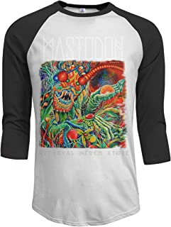 JeremiahR Mastodon Once More Round The Sun Men's 3/4 Sleeve Raglan Baseball T Shirts Black