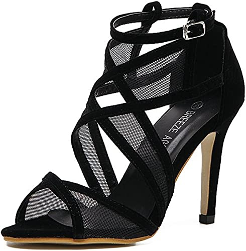 JITAIN Sandales Femmes Talons Hauts Aiguilles Chaussure Fil Sangle Bride Cheville Bout Ouvert Chaussures