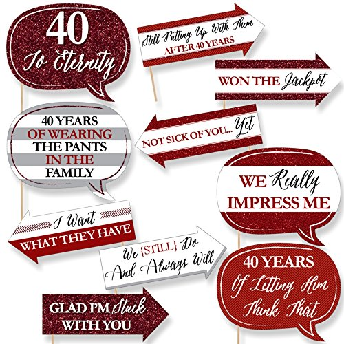 Funny We Still Do - 40th Wedding Anniversary - Anniversary Party Photo Booth Props Kit - 10 Piece
