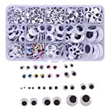Variety Value Pack1 Box/lot (Approx.1120 pcs) 0.19 inches (5mm) to 1 inch (25mm) Round Oval Plastic self-Adhesive Black Googly Wiggle Eyes Wide Variety Assorted Sizes