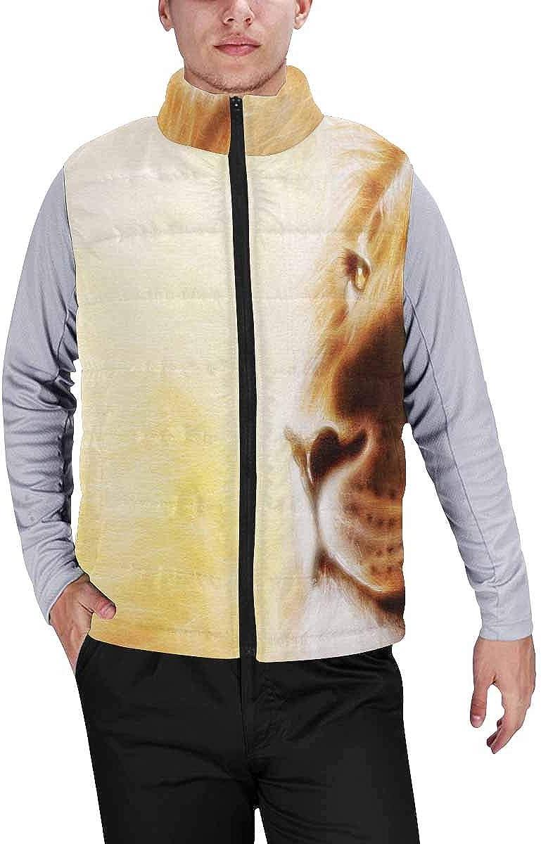 InterestPrint Men's Outdoor Casual Stand Collar Padded Vest Coats Wild Giraffes in the Savannah