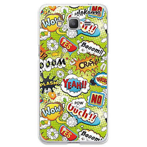 dakanna Funda Compatible con [Samsung Galaxy Grand Prime] de Silicona Flexible, Dibujo Diseño [Frases Comic Style Wow], Color [Borde Transparente] Carcasa Case Cover de Gel TPU para Smartphone