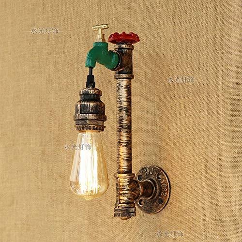 E27 Lámpara de pared retro industrial con interruptor Aplique de bronce Lámpara de pared de hierro con pipa de agua de metal para e Restaurante Pasillo Mesita de noche Pasillo Bar Decoración interior